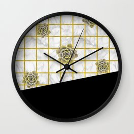 Succulents geometric composition - Black and Gold Wall Clock