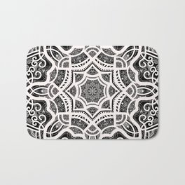 Mandala Project 209 | White Lace on Black Bath Mat