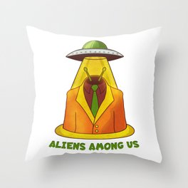Alien and UFO Throw Pillow