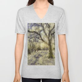 Summertime Forest Van Gogh Unisex V-Neck
