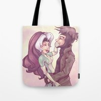 rogue Tote Bags featuring Rogue & Gambit by Kaz Palladino
