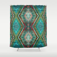aztec Shower Curtains featuring AZTEC by ED design for fun