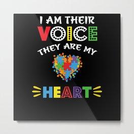 Autism Teacher I Am Their Voice Autism Heart Gift Metal Print