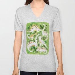Dinosaur Forest Unisex V-Neck