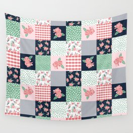 Cheater Quilt basic trendy floral pattern navy pink modern nursery florals cheater quilts Wall Tapestry