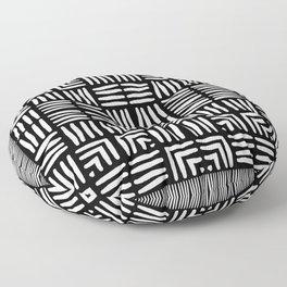 Geometric Black and White Tribal-Inspired Woven Pattern Floor Pillow