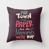 paper towns Throw Pillows featuring Paper Towns: Town and Memories by Risa Rodil