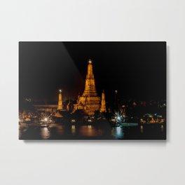 Wat Arun at Night, Bangkok, Thailand Metal Print