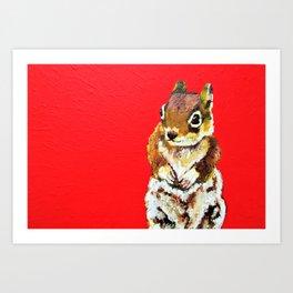 Chipmunk On a Burst of Red Art Print