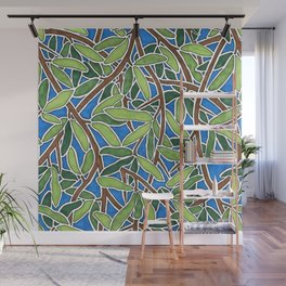 Leaves and Branches in Weaving Tangle Wall Mural