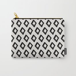 Modern Diamond Pattern 2 Black on Light Gray Carry-All Pouch