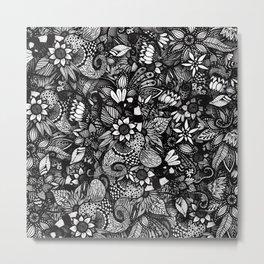 Modern Black & White Drawn Floral Collage Metal Print
