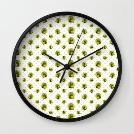 """Green Lemon Pattern Succulents Polka Dots"" Wall Clock"