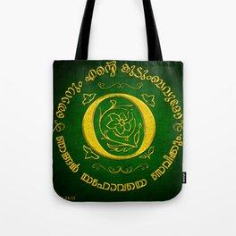 Joshua 24:15 - (Gold on Green) Monogram O Tote Bag