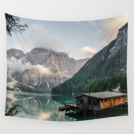 Mountain Lake Cabin Retreat Wall Tapestry