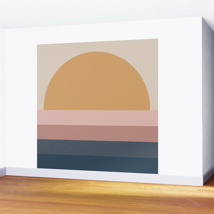 Minimal Retro Sunset - Neutral Wall Mural