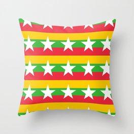 Flag of Myanmar 2-ဗမာ, မြန်မာ, Burma,Burmese,Myanmese,Naypyidaw, Yangon, Rangoon. Throw Pillow