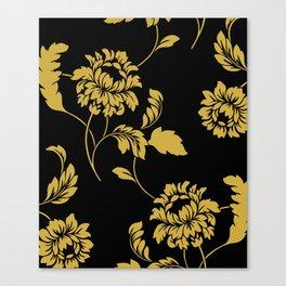 Victorian Floral (Black & Gold) Canvas Print