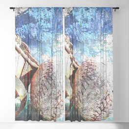 Baseball artwork vs cx 2 Sheer Curtain