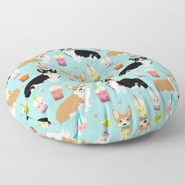 Corgi boba tea bubble tea kawaii food welsh corgis dog breed gifts Floor Pillow