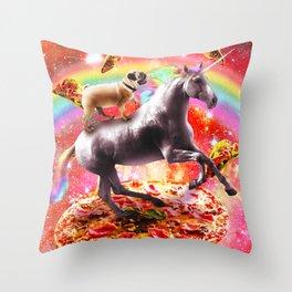 Space Pug Riding Unicorn - Pizza & Taco Throw Pillow