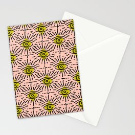 Dainty Seeing Eye Pattern in Chartreuse Stationery Cards