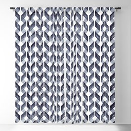 Watercolor Zig Zag Pattern - Indigo Blue Blackout Curtain