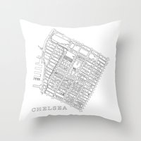 chelsea Throw Pillows featuring Chelsea by DRAW NORTH