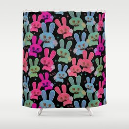 Cute Bunnies On Black Shower Curtain