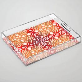 Tribal Tiles II (Red, Orange, Brown) Geometric Acrylic Tray