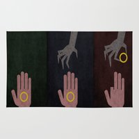 the lord of the rings Area & Throw Rugs featuring Lord of the Rings Minimalist Posters: Trilogy by Matt Humphrey