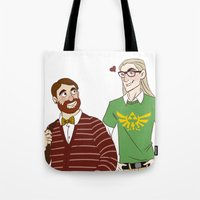 legolas Tote Bags featuring Hipster Legolas and Gimli by Nautilus Gifticus