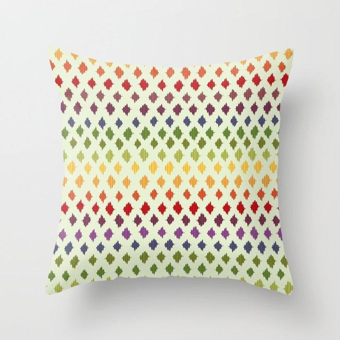 Rainbow Ikat Pattern Throw Pillow