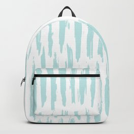 Vertical Dash Stripes Succulent Blue and White Backpack