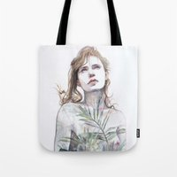 breathe Tote Bags featuring Breathe in, breathe out by agnes-cecile