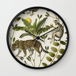 Lemurs Cream Wall Clock