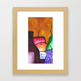 Fruits And Wine Still Life Painting By Saribelle Framed Art Print