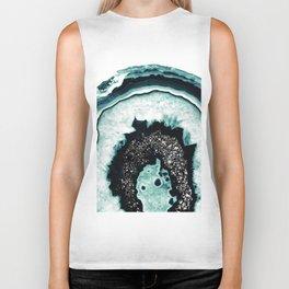 Icy Blue Agate with Black Glitter #1 #gem #decor #art #society6 Biker Tank