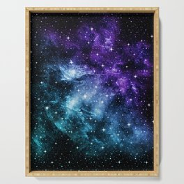 Purple Teal Galaxy Nebula Dream #1 #decor #art #society6 Serving Tray
