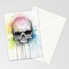 Skull Rainbow Watercolor Painting Skulls Stationery Cards
