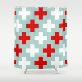 Red and White Crosses Shower Curtain