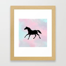 Running Horse Silhouette on Watercolor background Framed Art Print