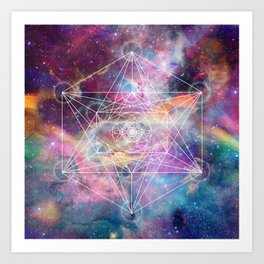 Watercolor and nebula sacred geometry  Art Print
