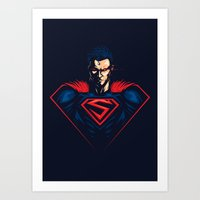 man of steel Art Prints featuring Man of Steel by Steven Toang