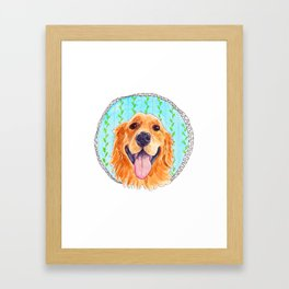 You're Never Fully Dressed without a Smile, Golden Retriever, Whimsical Watercolor Painting, White Framed Art Print