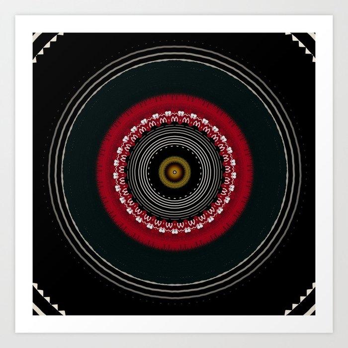 Modern Black White and Red Mandala Art Print