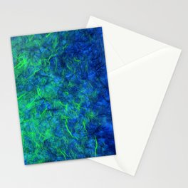 Neon blue green psychedelic Japanese paper abstract art Stationery Cards