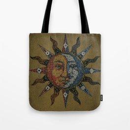Vintage Celestial Mosaic Sun & Moon Tote Bag