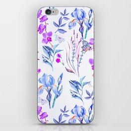 Modern purple blue watercolor hand painted orquid butterfly iPhone Skin