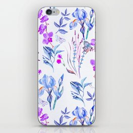 Modern purple blue watercolor hand painted orquid butterfly iPhone Skin